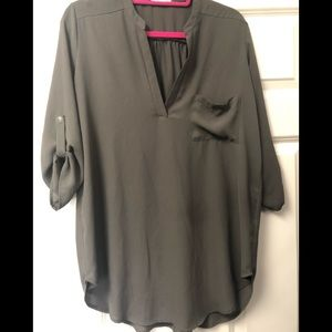 Lush (from Nordstrom) woven olive green tunic top
